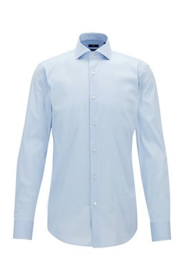 Slim-fit shirt in cotton-blend poplin with stretch, Light Blue