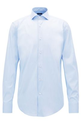 Slim-fit shirt in stretch poplin , Light Blue