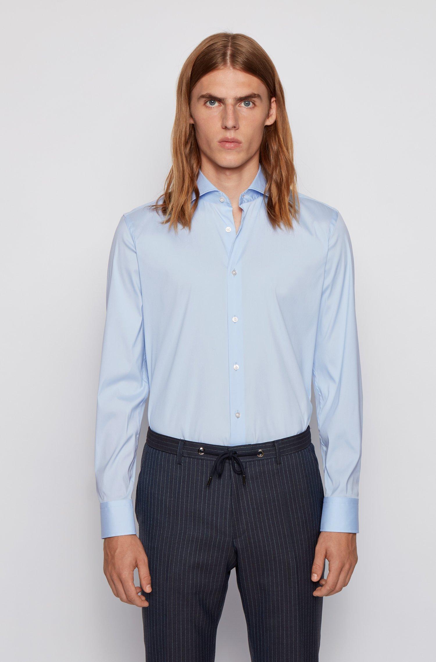 Slim-fit shirt in cotton-blend poplin with stretch, Light Blue