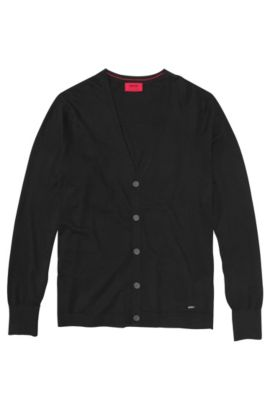 Cardigan in a cotton blend with silk and cashmere: 'Scardinus', Black