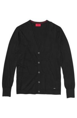 Chaqueta de punto en mezcla de algodón con parte de seda y cachemira: 'Scardinus', Negro