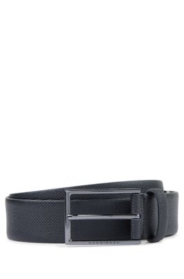 Printed-leather belt with gunmetal buckle, Black