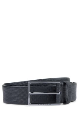 Italian-made belt in printed leather, Black