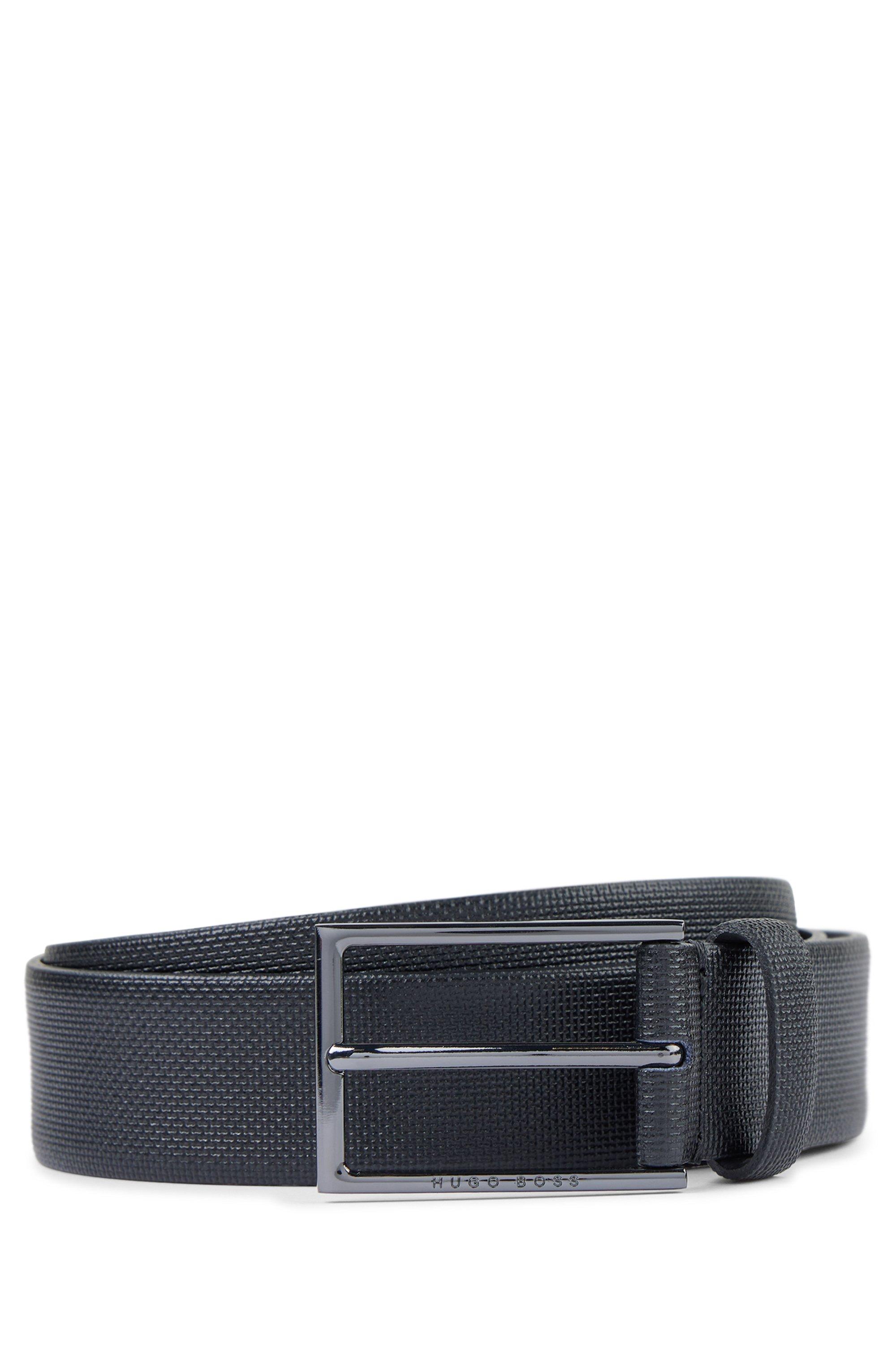 Printed-leather belt with gunmetal buckle, Black