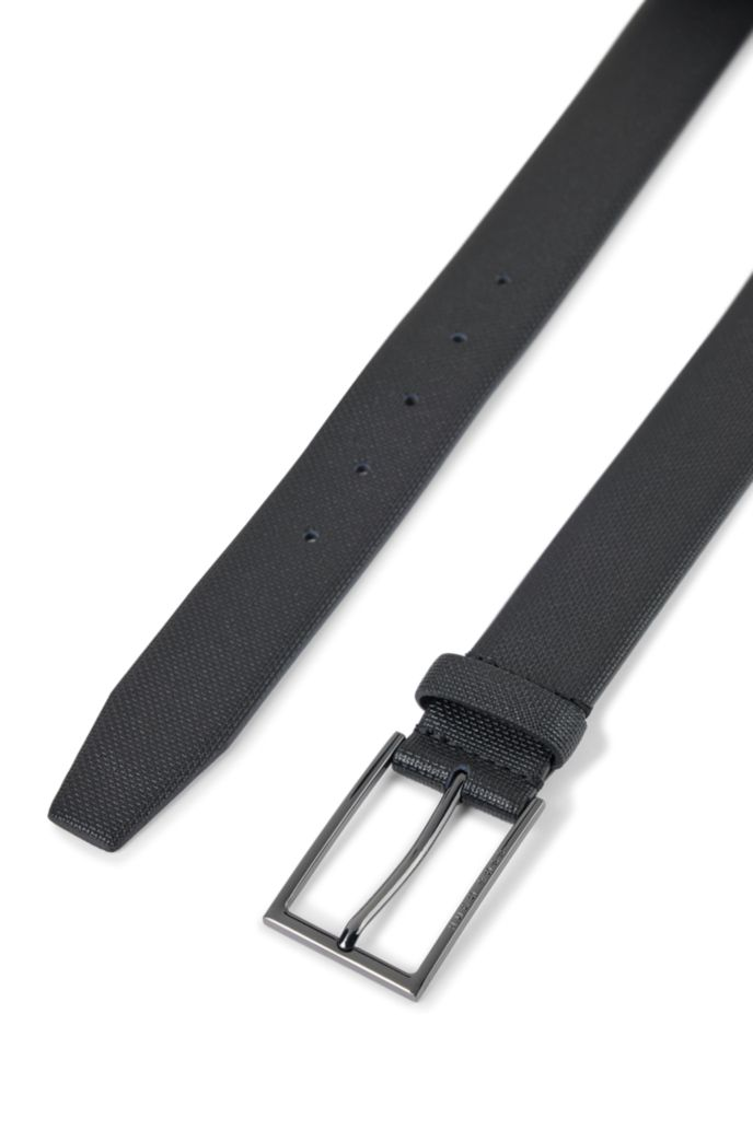Printed-leather belt with gunmetal buckle