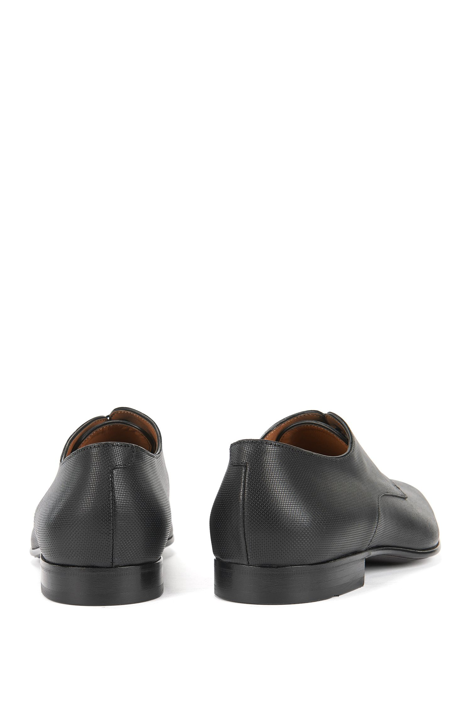 Derby shoes with embossed leather upper, Black