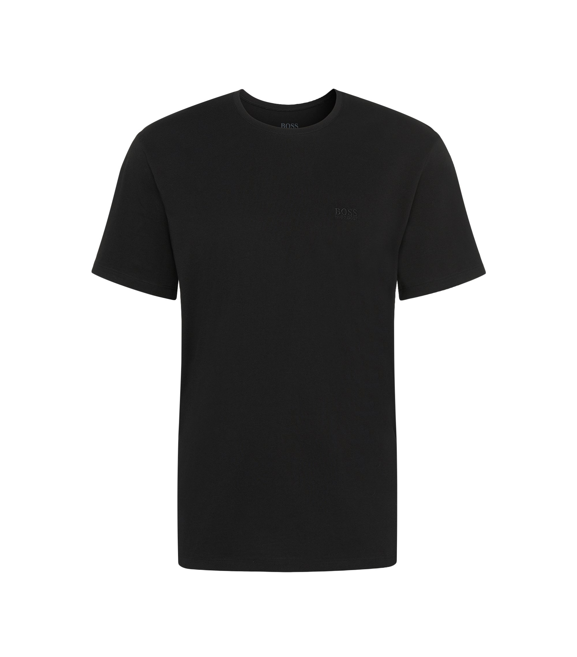Relaxed-fit cotton T-shirt with crew neckline , Black