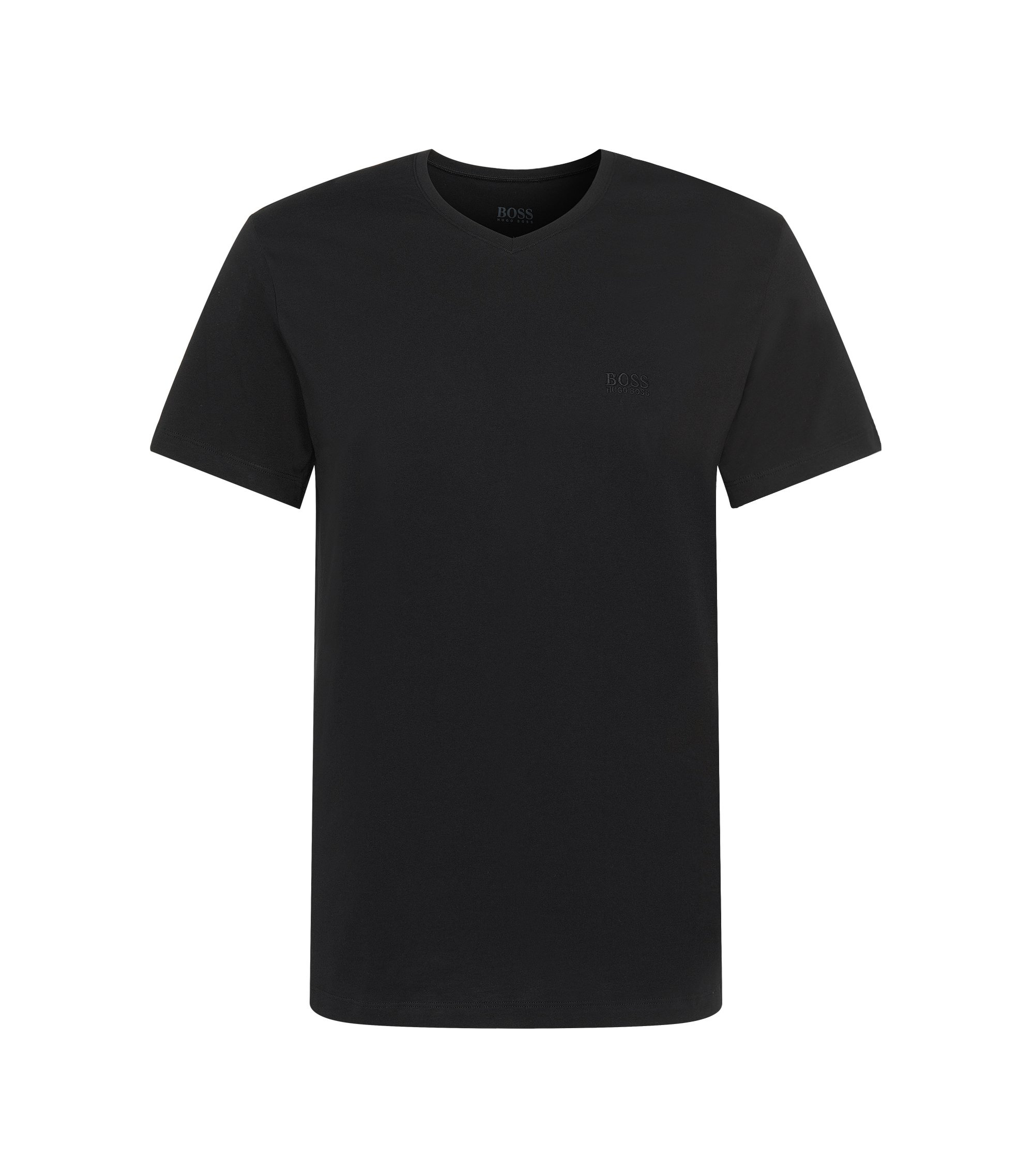 Relaxed-fit cotton T-shirt with V-neck , Black