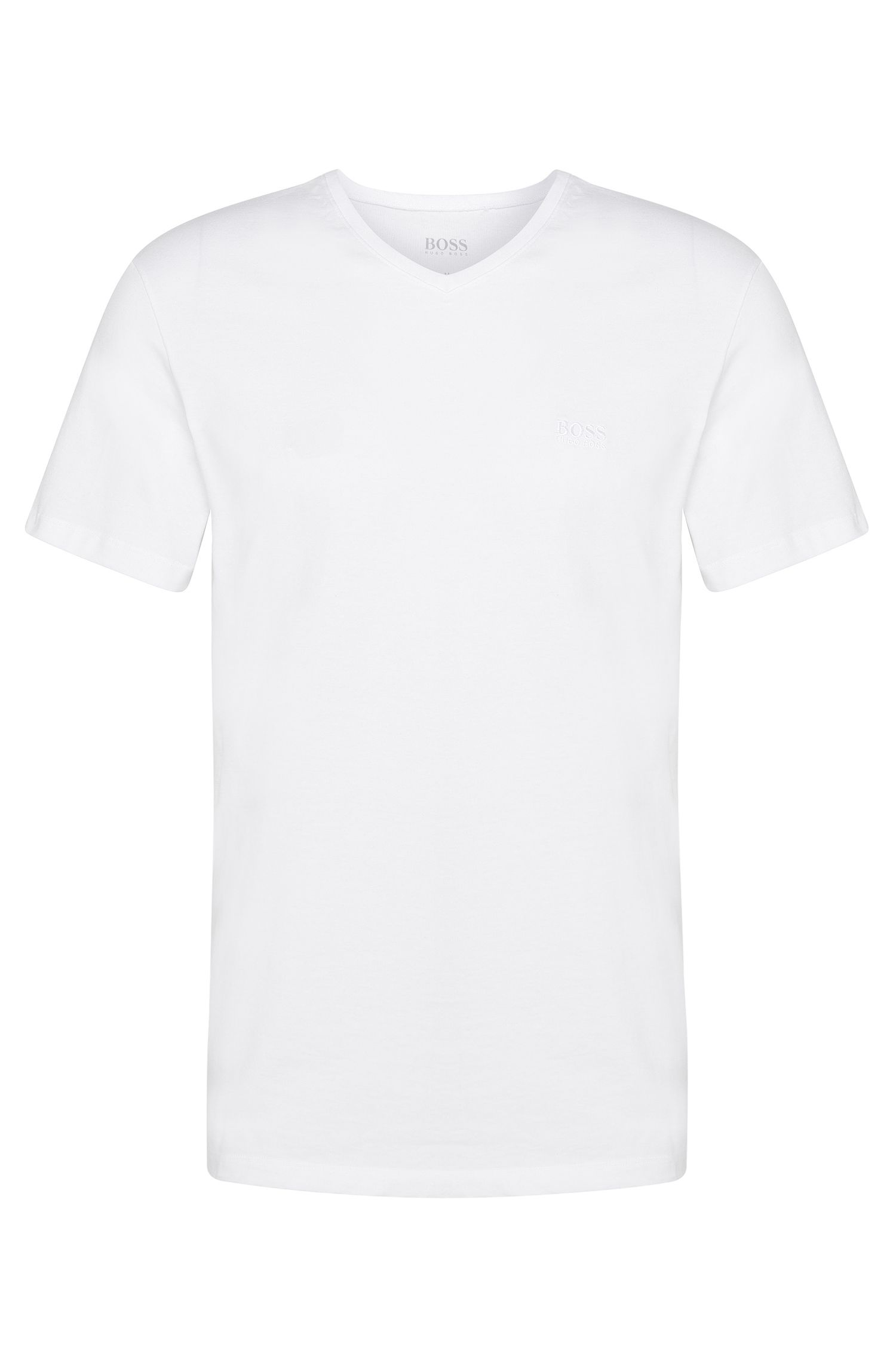 Relaxed-fit cotton T-shirt with V-neck , White