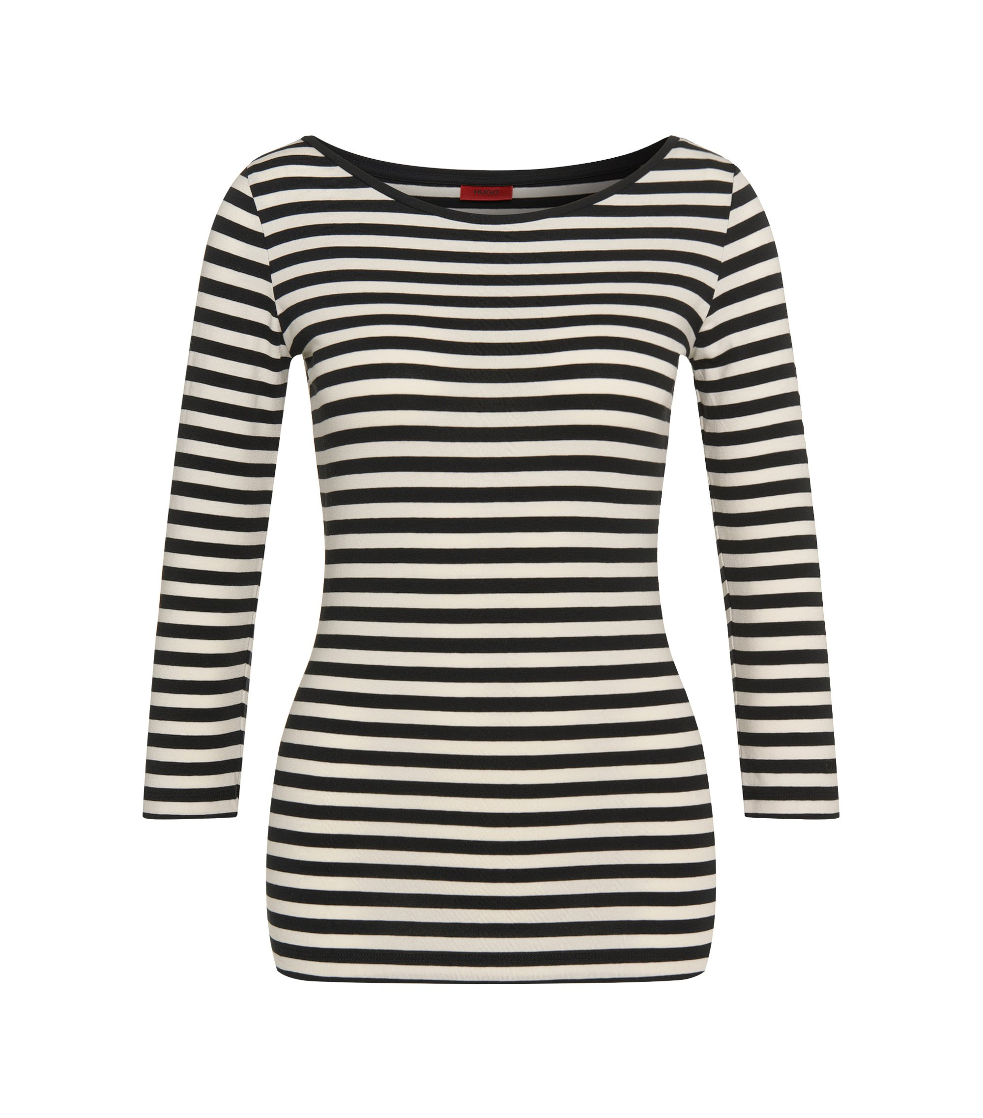 Striped t-shirt in stretch cotton blend: 'Dannala_2', Patterned