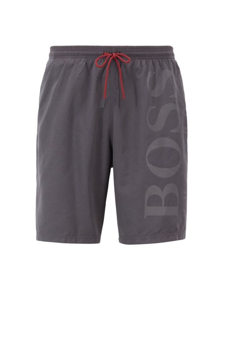 Swim shorts in brushed technical fabric, Anthracite