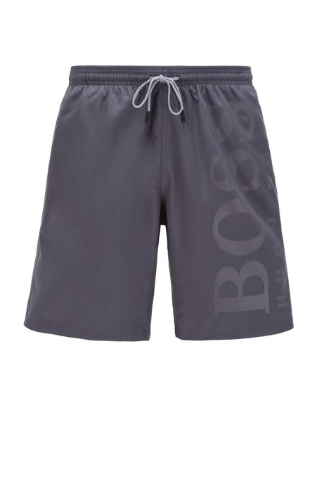 Swim shorts in brushed technical fabric, Dark Grey