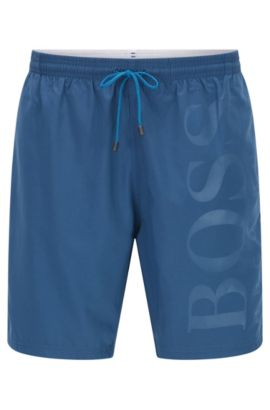 Swim shorts in brushed technical fabric, Dark Blue