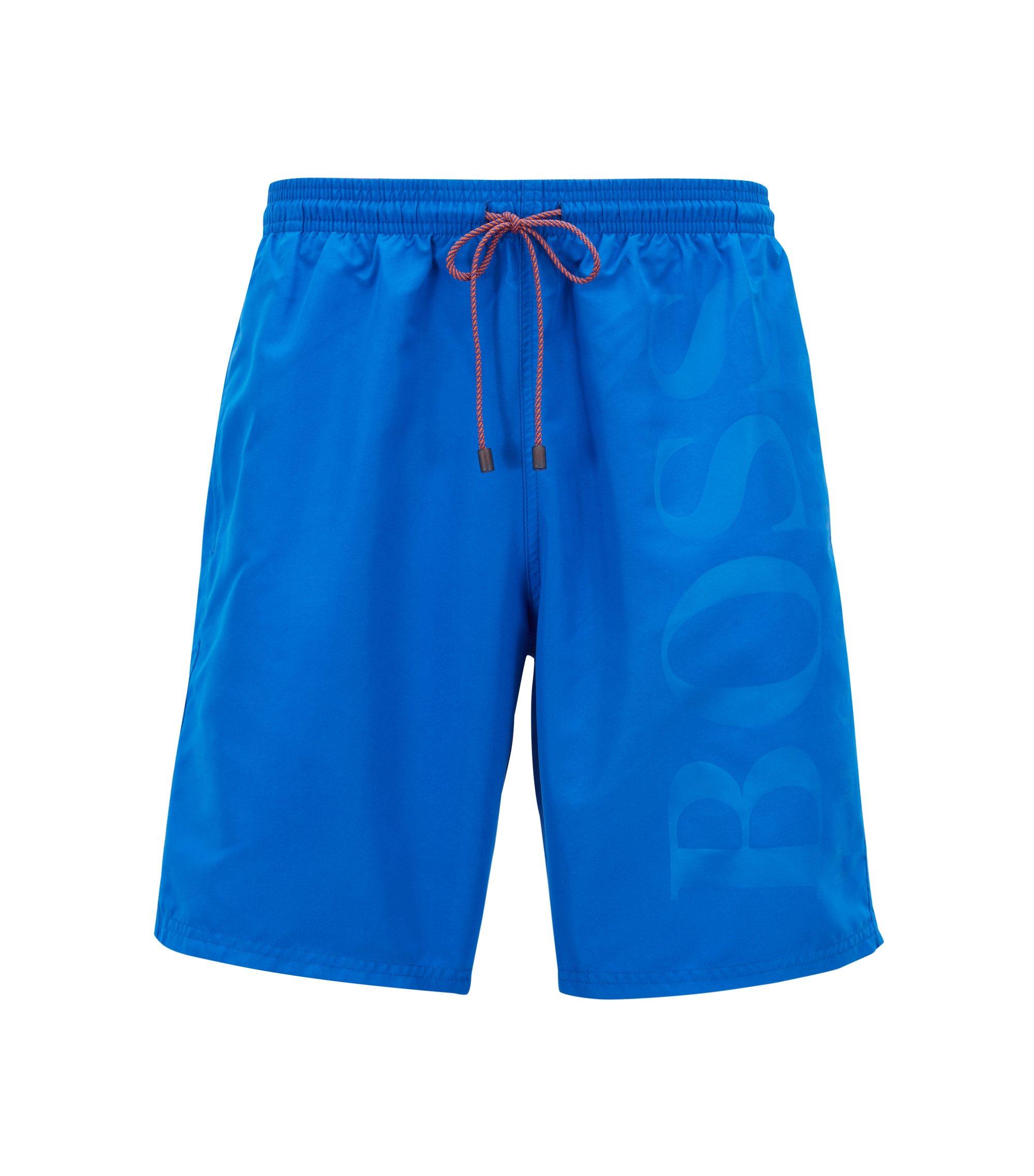 Zwemshort van geborsteld technisch materiaal, Blauw