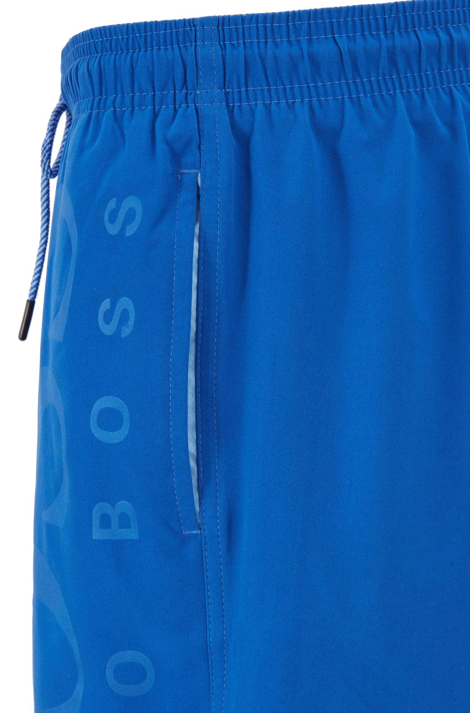 Badeshorts aus gebürstetem Material-Mix, Blau