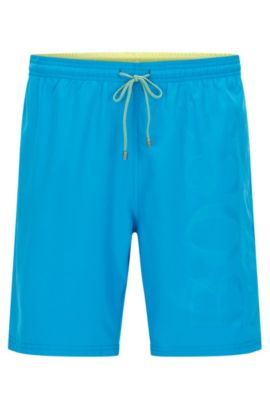 Swim shorts in brushed technical fabric, Turquoise