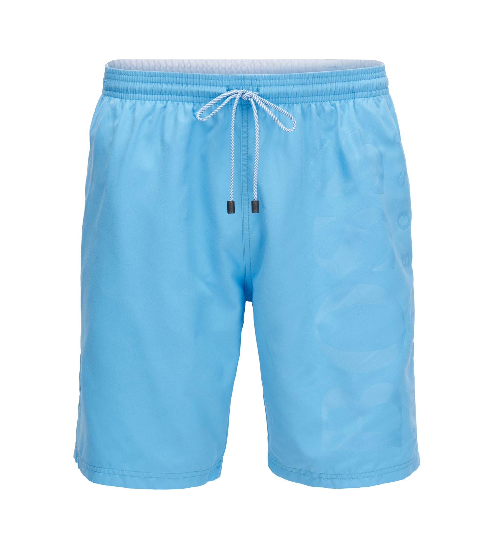 Swim shorts in brushed technical fabric, Light Blue
