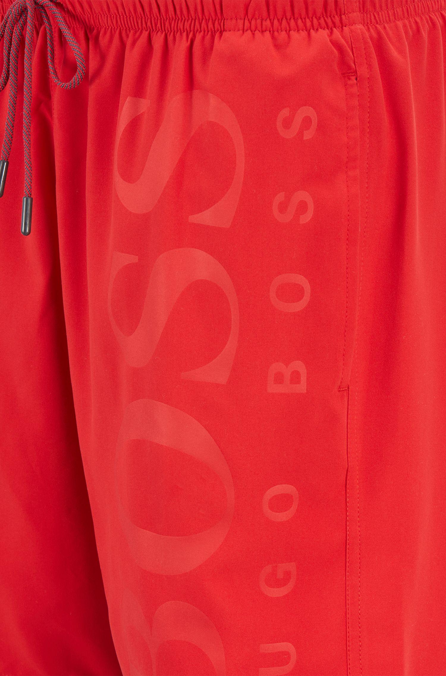 Short de bain en tissu technique brossé, Rouge