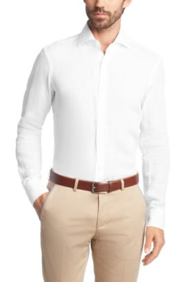 Chemise business coupe Regular Fit « Gerald » en lin, Blanc