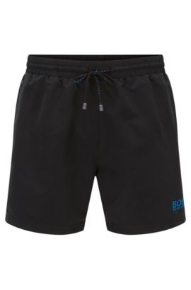 Short-length swim shorts in quick-drying fabric, Black