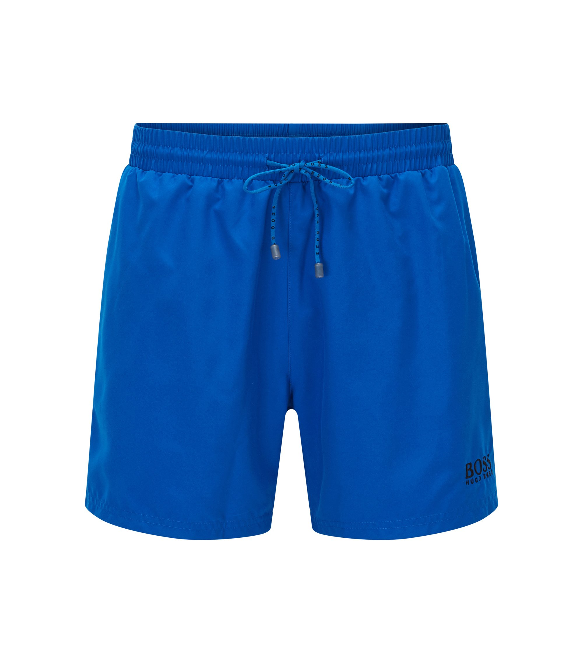Short-length swim shorts in quick-drying fabric, Blue