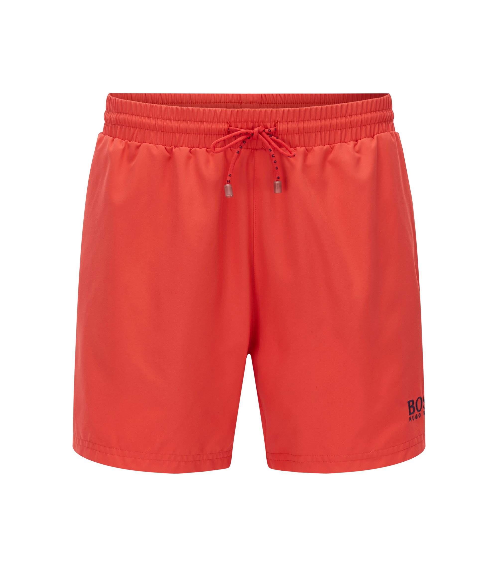 Short-length swim shorts in quick-drying fabric, Red