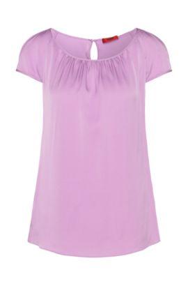 Top ajustado en seda elástica: 'Catoni-1', Luz púrpura