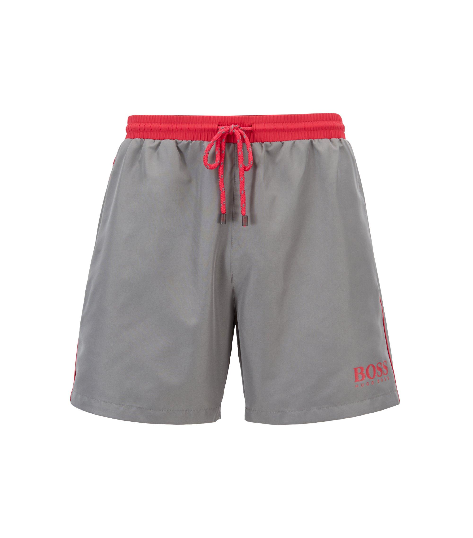 Swim shorts in technical fabric, Dark Grey