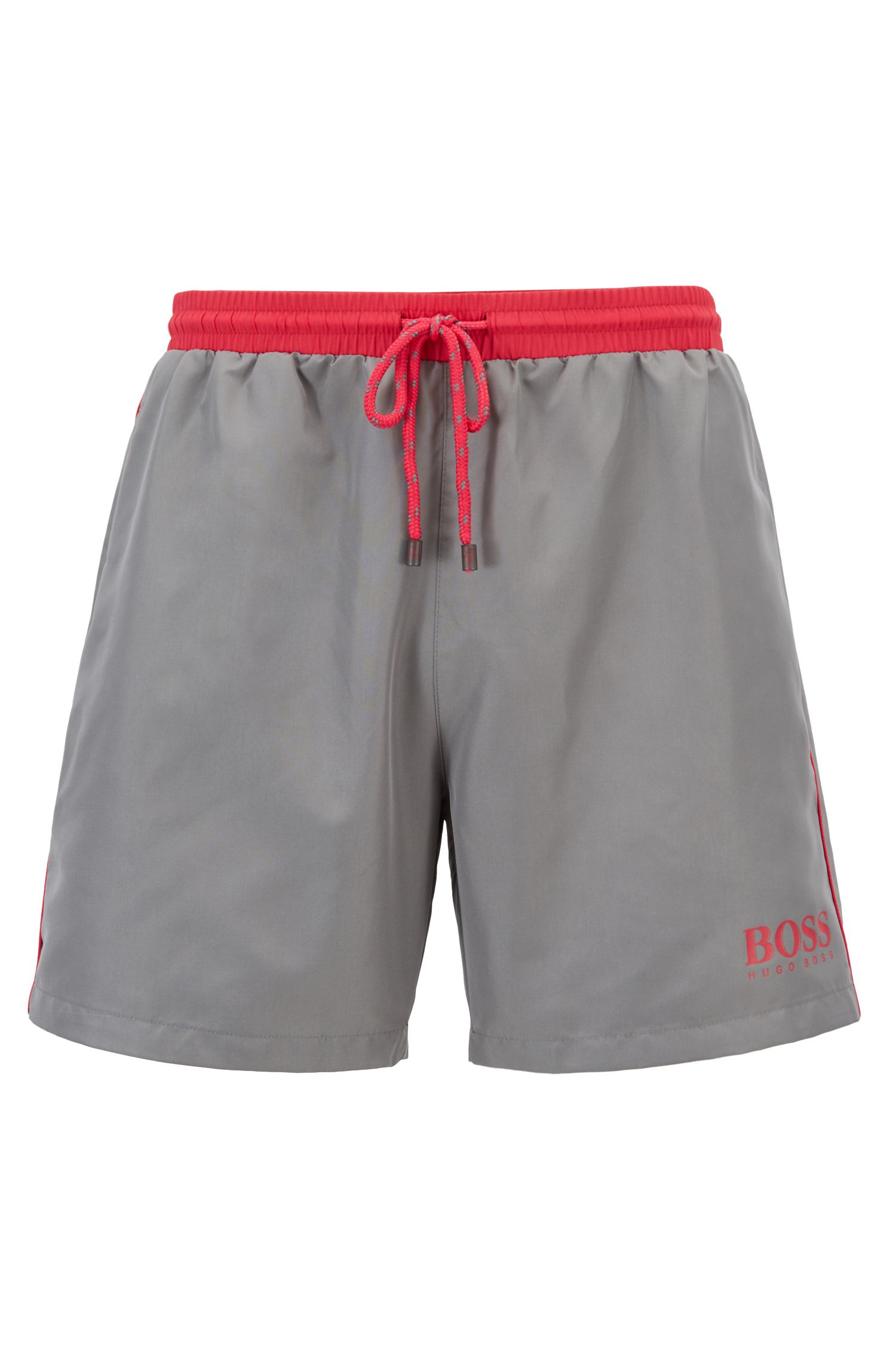 Swim shorts in technical fabric, Dark Grey