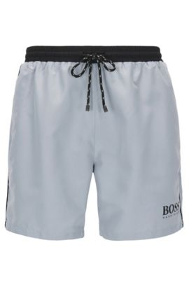 Swim shorts in technical fabric, Silver