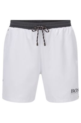 Swim shorts in technical fabric, Natural