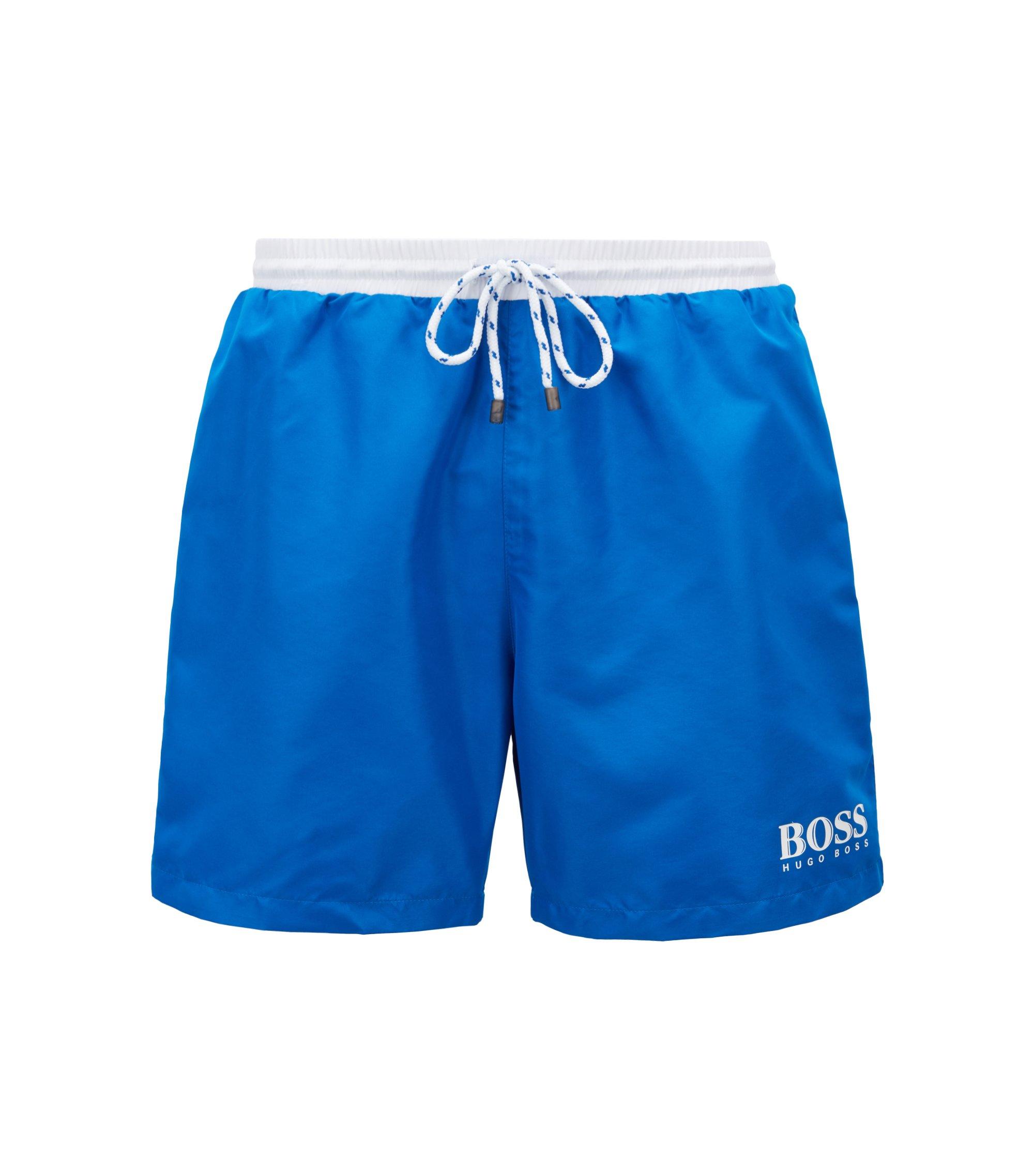 Short de bain en tissu technique, Bleu
