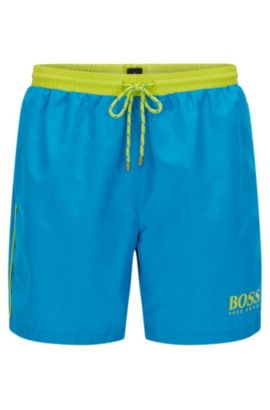 Swim shorts in technical fabric, Turquoise