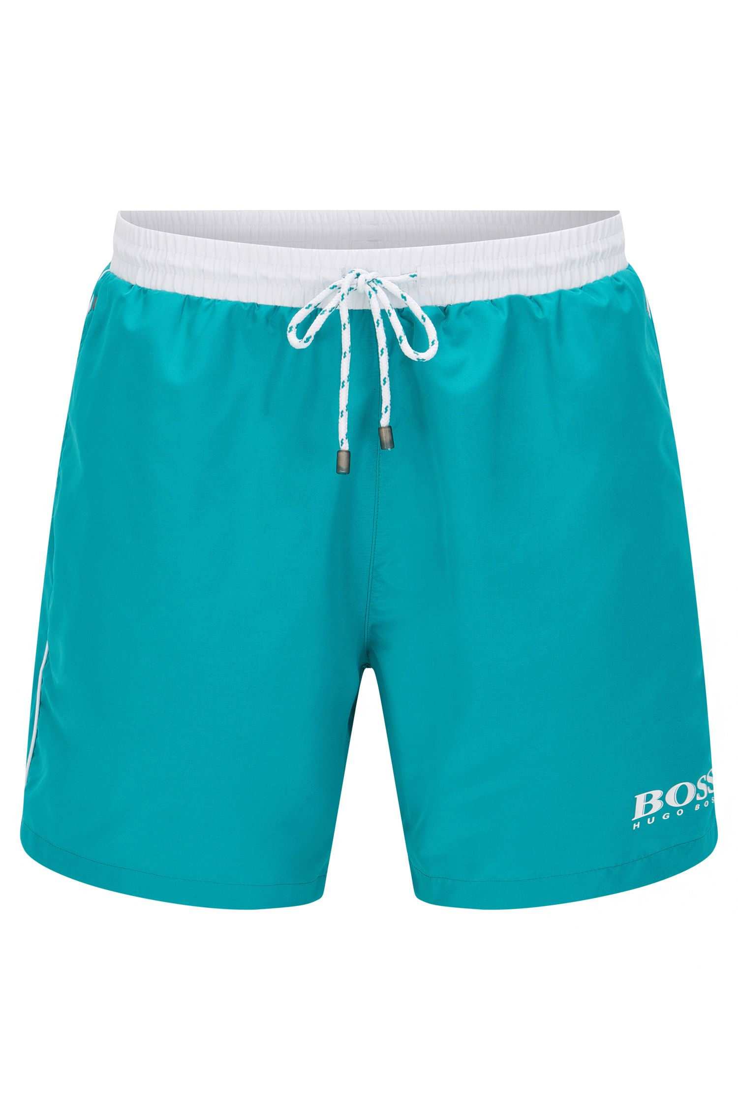 Quick-drying swim shorts with contrast piping