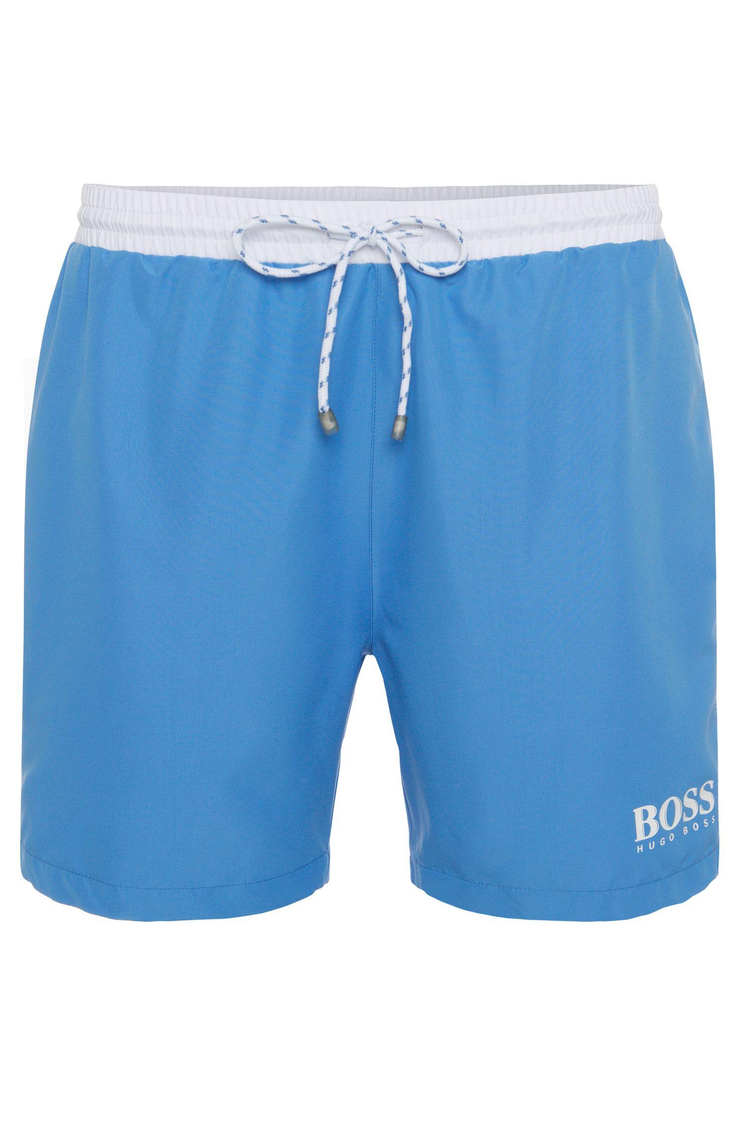 Swim shorts in technical fabric, Blue