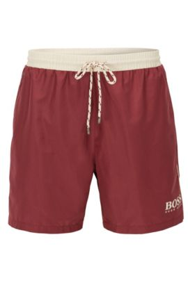 Swim shorts in technical fabric, Dark Red
