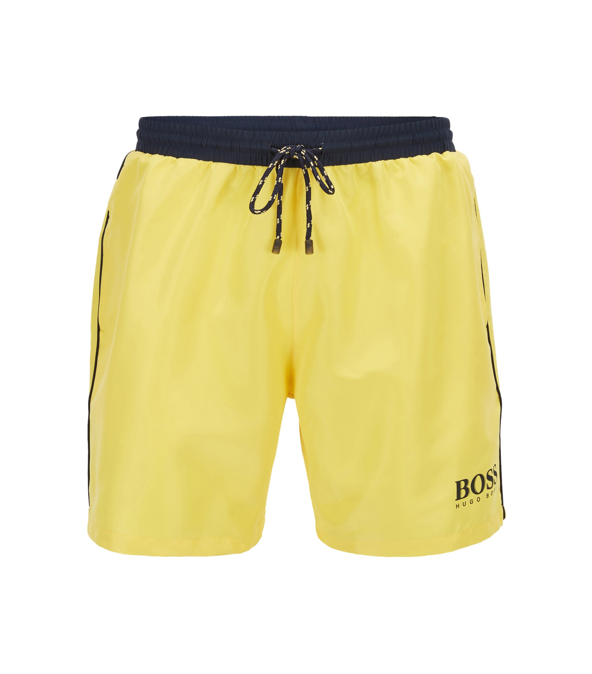 Swim shorts in technical fabric, Yellow