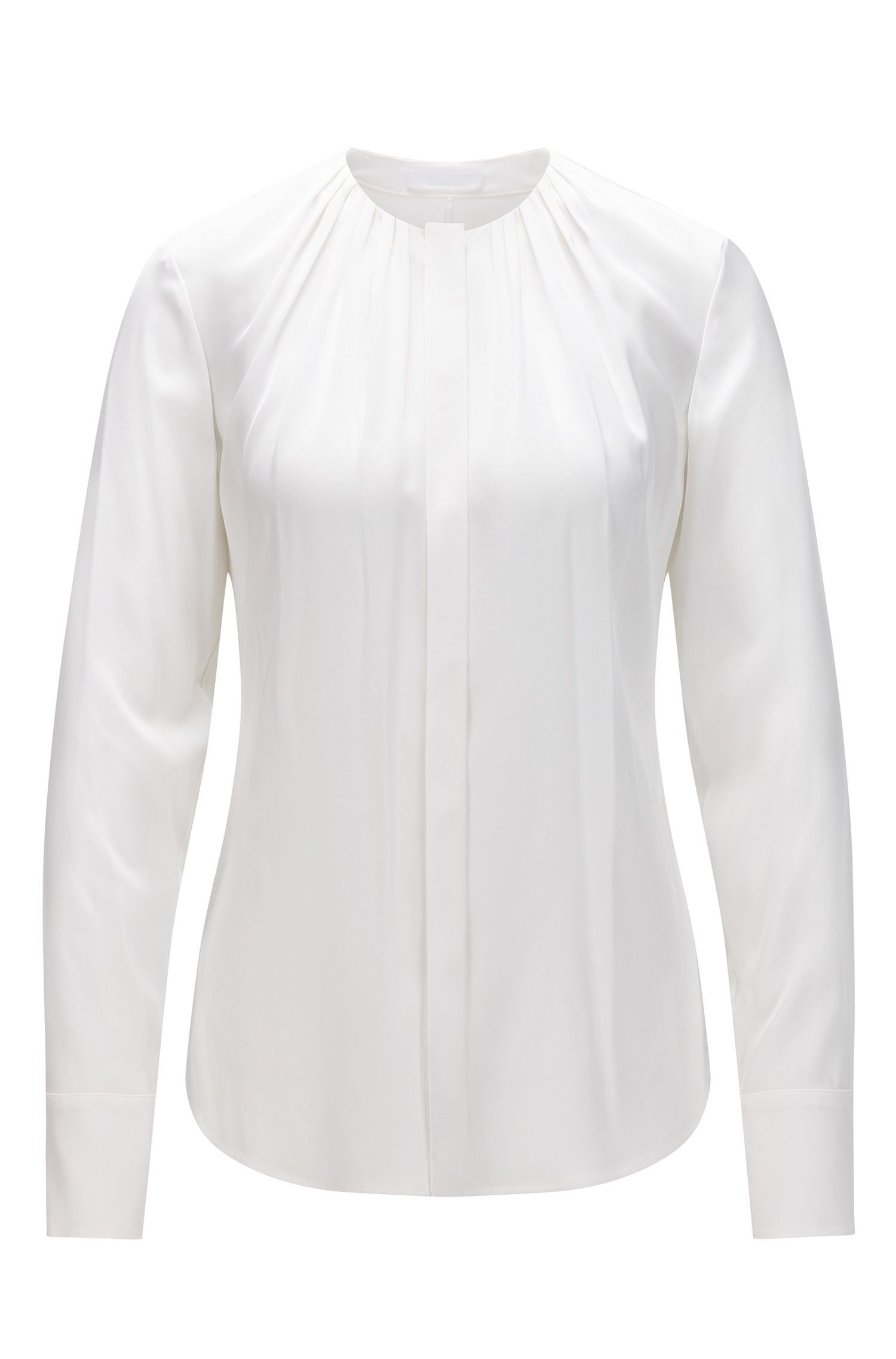 Effen regular-fit blouse van stretchzijde: 'Banora2', Naturel