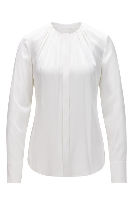 Solid-coloured regular-fit blouse in stretch silk: 'Banora2', Natural