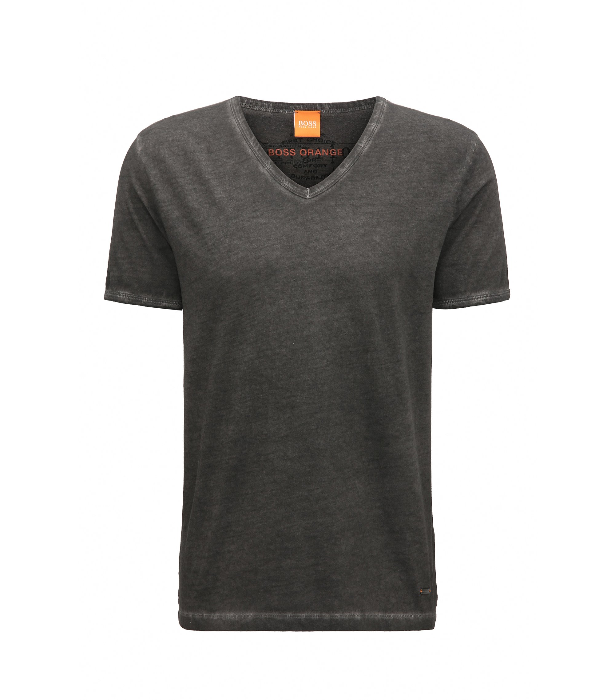 T-shirt regular fit in cotone tinto in capo, Nero