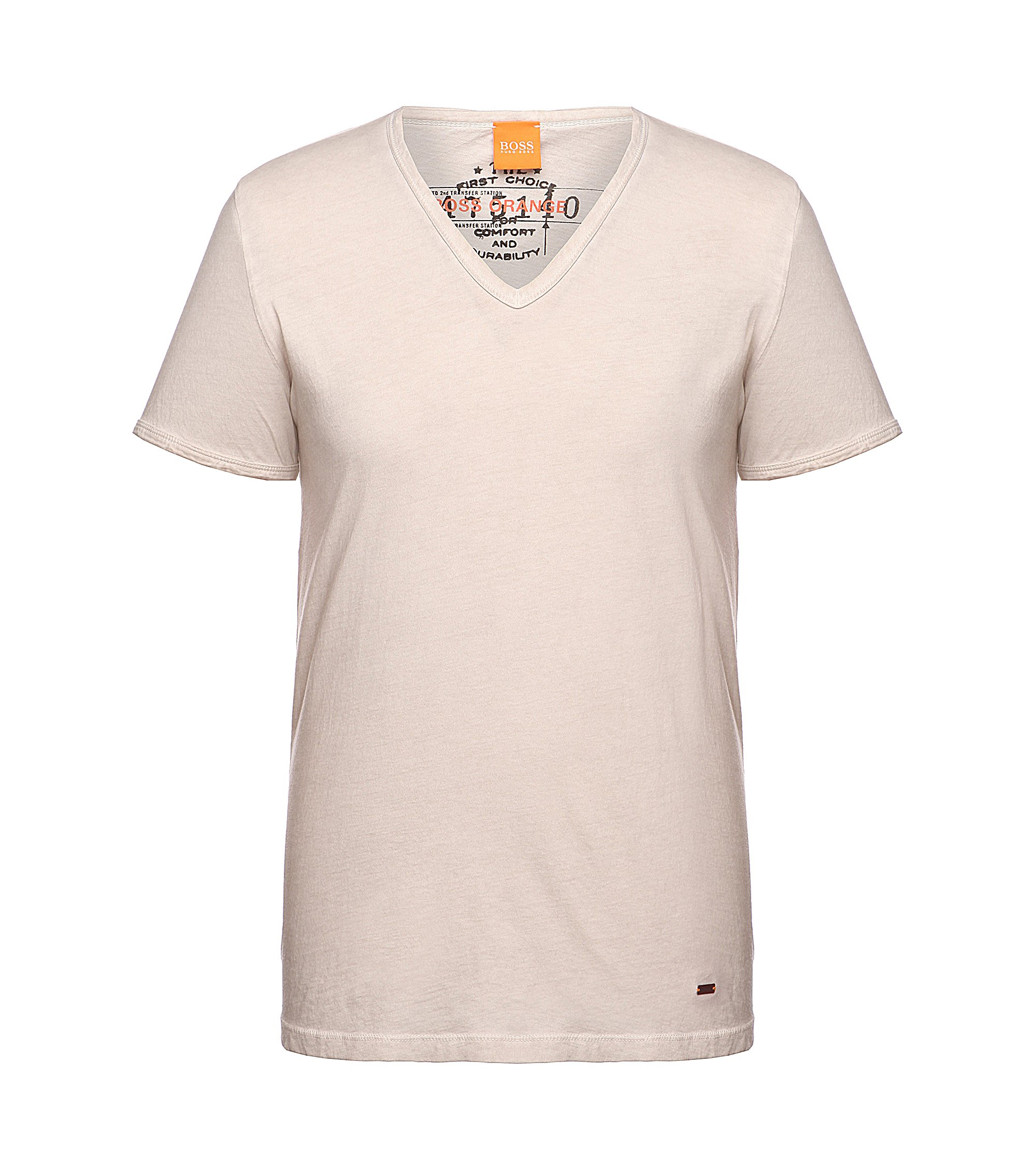 Regular-fit T-shirt van garment dyed-katoen, Lichtbeige