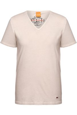 T-shirt Regular Fit en coton garment dyed, Gris chiné