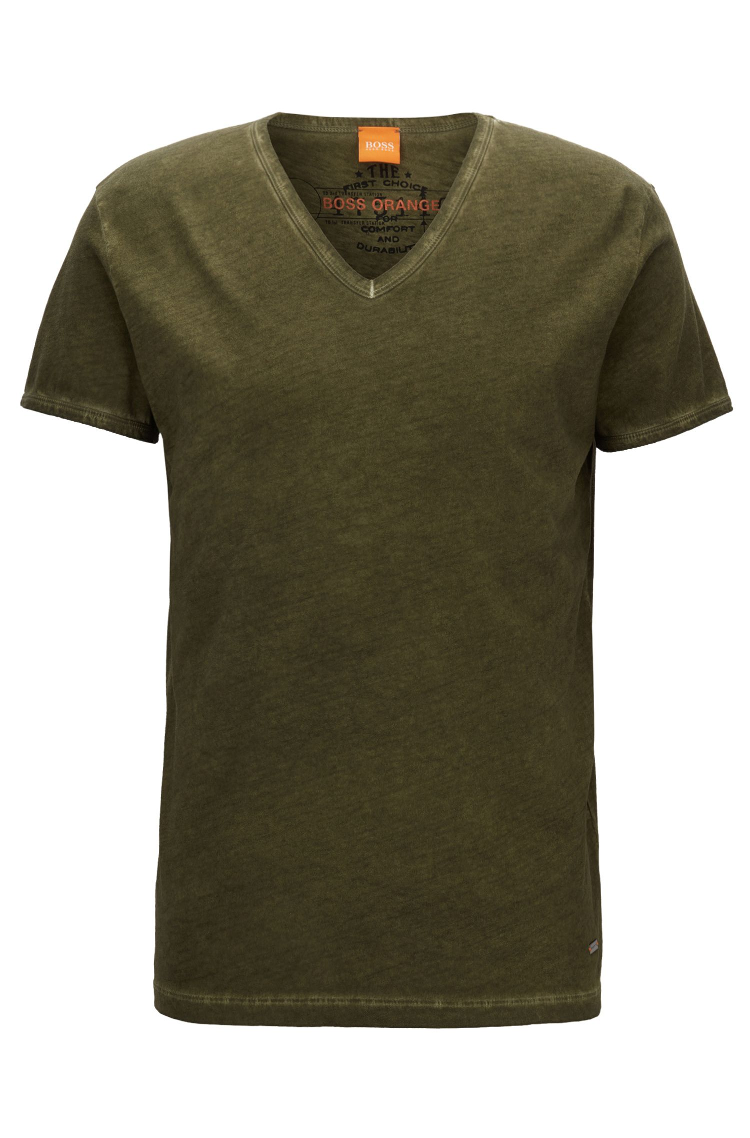 Regular-fit T-shirt van garment dyed-katoen