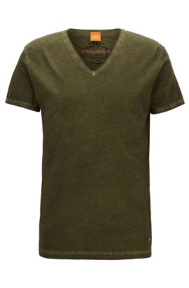 Regular-fit T-shirt in garment-dyed cotton, Dark Green