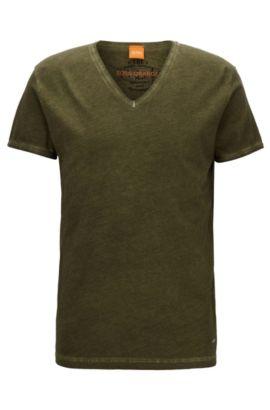 Regular-fit T-shirt in garment-dyed cotton, Dark Green