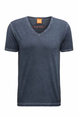T-shirt Regular Fit en coton garment dyed, Bleu foncé