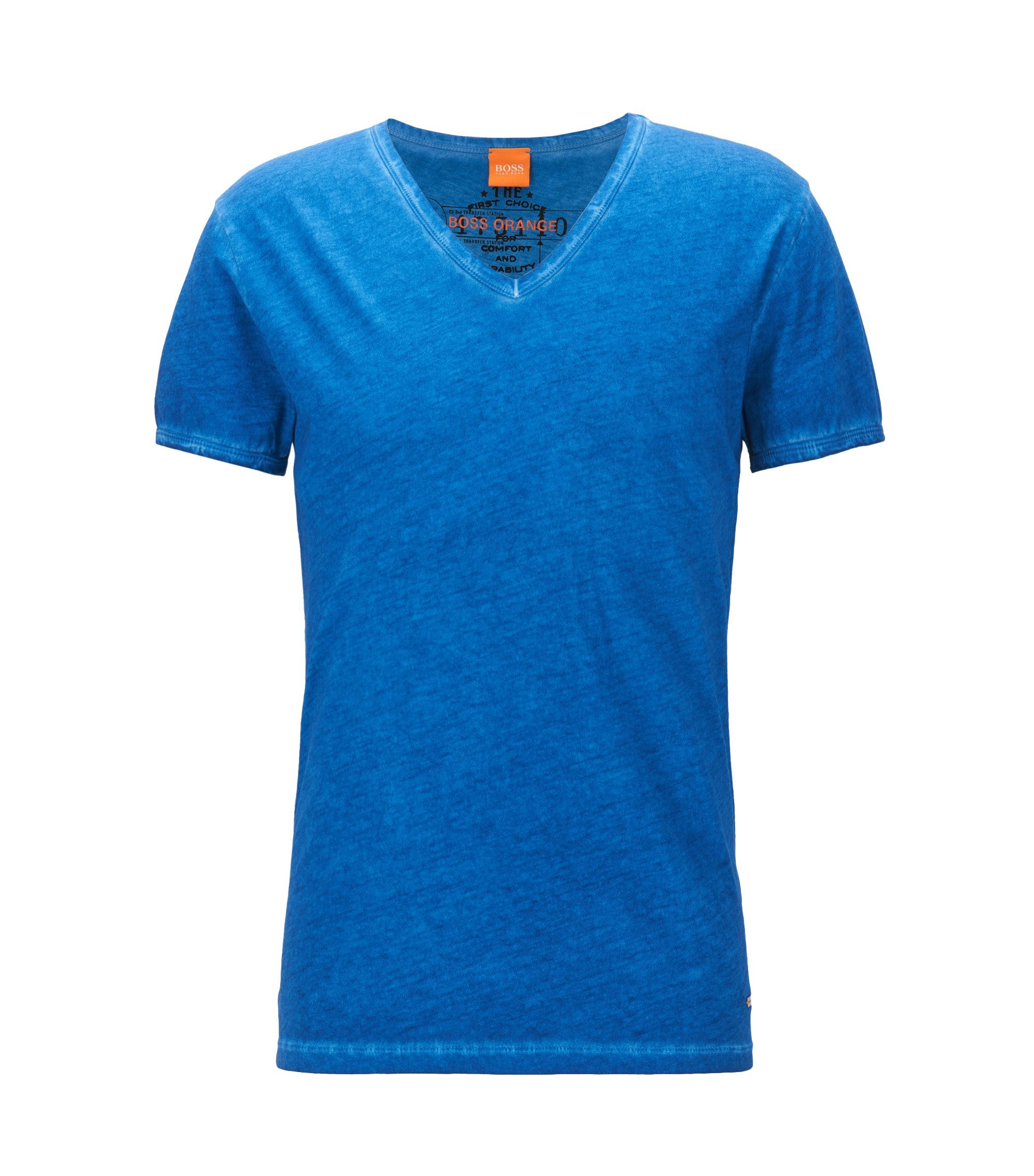 T-shirt Regular Fit en coton garment dyed, Bleu