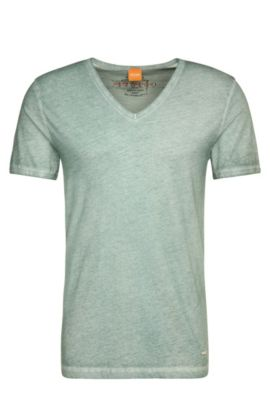 T-shirt Regular Fit en coton garment dyed, Turquoise