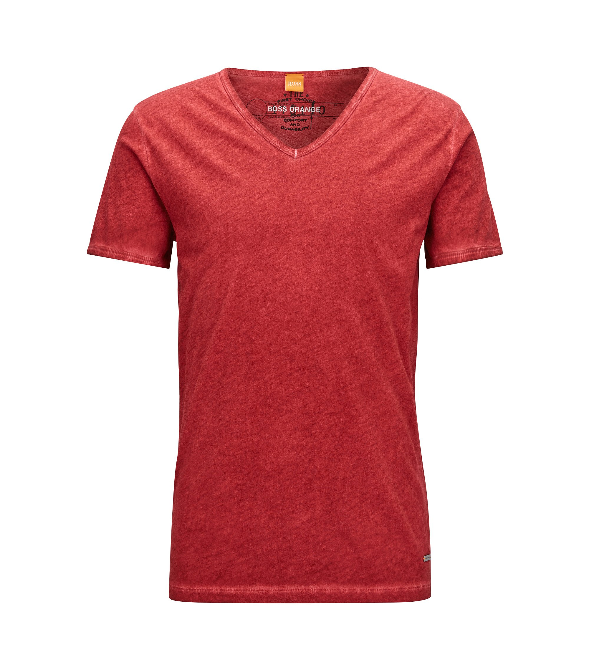 T-shirt regular fit in cotone tinto in capo, Rosso