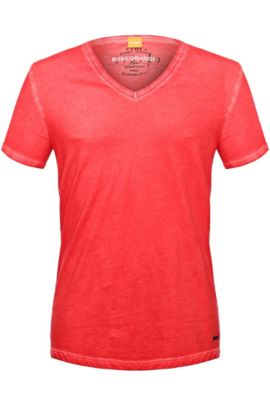 Regular-fit T-shirt in garment-dyed cotton, Red
